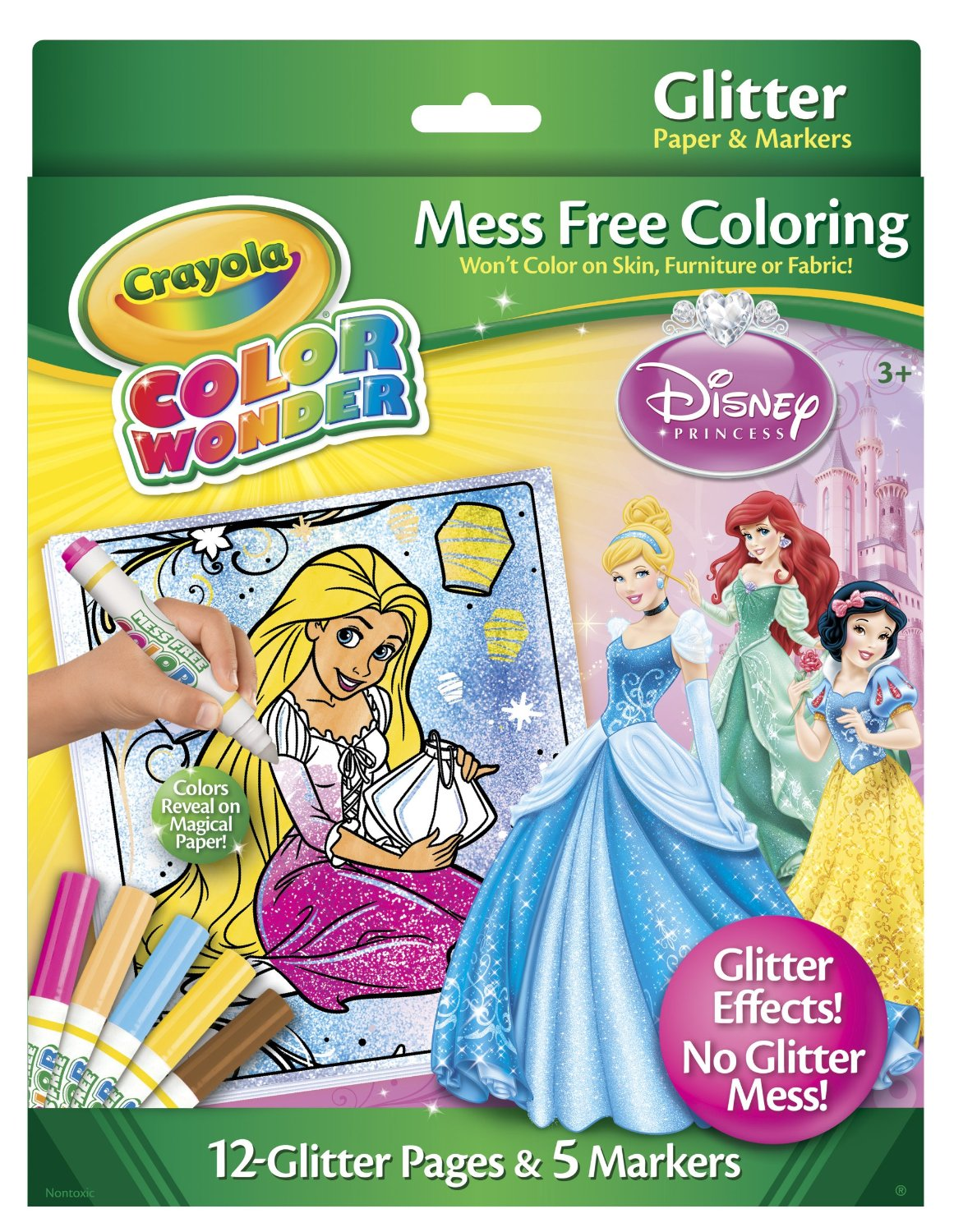 Crayola Color Wonder Disney Princess Glitter Paper and Markers ...